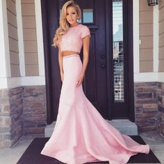Real Made Pink Floor-Length Beading Prom Dresses, Sexy Evening Dresses, The charming Prom Dresses,Two Pieces Prom Dresses On Sale,