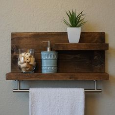 17 Affordable Rustic Bathroom Wall Shelves And Organization Ideas Wooden Bathroom Shelves, Bathroom Shelf Decor, Bathroom Storage Shelves, Wall Shelves Design, Wood Bathroom, Wall Storage, Wood Shelves, Bathroom Ideas, Bathroom Renovations