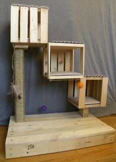 The Kitten Cubes are built for kittens or small cats. Built with health and fun in mind, this handmade scratch post will look great anywhere. This sturdy treehouse is built with new and recycled wood and assembled with 2 & 4 phillips screws. The 3 x 2 posts are securely wrapped with natural sisal rope. The ihooks are installed to hold any toy of your choice and each stand will included extra hooks to allow you to customize your setup. The cushions are made with fabric and padding stapled to…