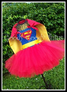 LOIS AND CLARK Tutu Dress with Detachable Cape by goodygoodytutus