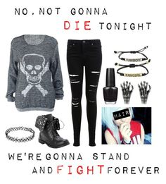 """Not Gonna Die // Skillet"" by im-punk-not-dead ❤ liked on Polyvore featuring Miss Selfridge, CO and OPI"