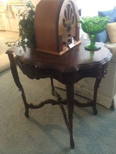 Beautifully carved antique side table; Norman Rockwell Collector's Edition Radio  New Divide & Conquer sale starting this Thursday, February 25-27; check out the details here:  http://divideandconquerofeasttexas.com/nextsales.php  #estatesales #consignments #consignment #tyler #tylertx #tylertexas #organizing #organizers #professionalorganizer #professionalorganizers #movingsale #movingsales #moving #sale #divideandconquer #divideandconquerofeasttexas #divideandconquereasttexas #marthadunlap