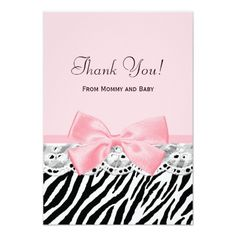 Baby Thank You Pink Ribbon and Lace Zebra Print 3.5x5 Paper Invitation Card