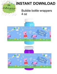 Peppa pig and George pig Bubble bottle label- Instant Download - Peppa pig Party Label - Party Favor - Birthday Bubbles! by okprintables, €4.00 EUR