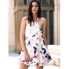 Fashionable Halter Sleeveless Floral Print Backless Women's Dress #women, #men, #hats, #watches, #belts, #fashion, #style