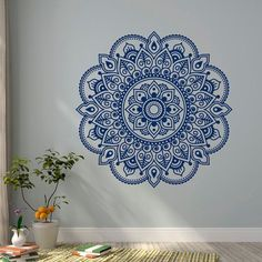Wall Decal Vinyl Sticker Mandala Ornament Lotus Flower Yoga Indian Decor Meditation Art Bedroom Yoga Studio Boho Wall Art from FabWallDecals on Etsy. Mandalas Painting, Mandalas Drawing, Flower Ornaments, Ornaments Design, Mandala Mural, Mandala On Wall, Wall Stickers Mandala, Wall Murals, Wall Art Decor