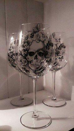 Beautiful skull wine glasses