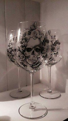 Beautiful skull wine glasses