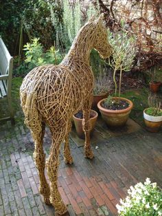 Willow Horse Sculpture / Equines Race Horses Pack HorseCart Horses Plough Horsess sculpture by artist Emma Walker titled: 'Foal (Lifesize Willow garden/Yard ? Indoors sculpture/statues)'