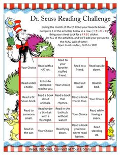 Dr Seuss Reading Challenge by mandy