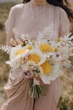 Yellow anemones and dried florals by Snapdragon Edinburgh for Isle of Skye Elopement shot by Ceranna Flower Bouquet Wedding, Floral Wedding, Scotland Nature, Scottish Elopement, Woodland Wedding Inspiration, Dried Flowers, Paper Flowers, Dream Wedding, Wedding Dreams