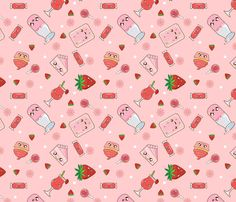 Kawaii Strawberry Bonanza fabric by kawaiistitches on Spoonflower - custom fabric