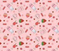 Kawaii Strawberry Bonanza fabric by kawaiistitches on Spoonflower - custom fabric