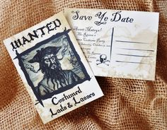 Halloween Pirate Themed Party Invitation Save the Date Postcard. $15.00, via Etsy.