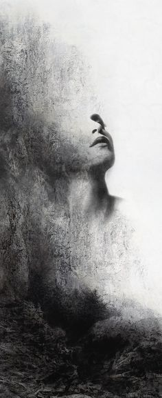 black-white-madness: Madness: Our Lady of the Garden by TALON. White Art, Black And White, Ange Demon, Double Exposure, Our Lady, Portrait Art, Dark Art, Art Inspo, Amazing Art