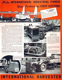 1938 International Harvester original vintage advertisement. Features the Trac Tractor line used to ferry airplanes on the tarmac; the Model I-12 Tractor for lumber yards, and the shop mule at work on the docks.