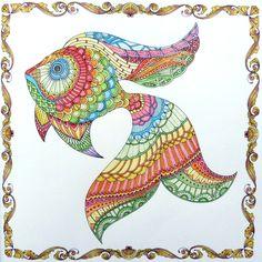 Lost Ocean - Fish. Gekleurd door Marianne in het boek: De verborgen oceaan.