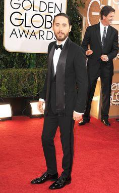 #TuxedoWatch Sling a suave silk scarf around your Johnny Tuxedo tux like Golden Globe winner Jared Leto