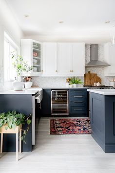 A few changes for Spring Kitchen Redo, Home Decor Kitchen, Kitchen Living, Kitchen Interior, New Kitchen, Home Kitchens, Kitchen Remodel, Dark Blue Kitchen Cabinets, Navy Cabinets
