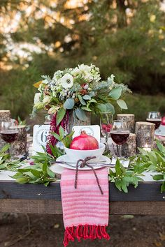 holiday inspired tablescape, photo by Tyler Rye Photography http://ruffledblog.com/a-desert-christmas-wedding #weddingideas #tablescapes