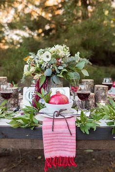 holiday inspired tablescape, photo by Tyler Rye Photography http://ruffledblog.com/a-desert-christmas-wedding #weddingideas #tablescapes