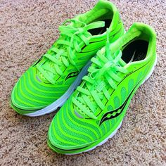 Love my new Limited Edition Slime Green @Saucony Kinvara 3's. I'm somewhat of a running shoe addict now. #saucony #kinvara3 #running by AngryJulieMonday, via Flickr