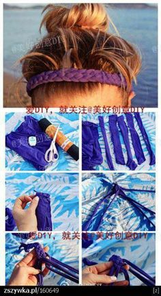 Headbands... - no link attached.  Braid tshirt and make into headband