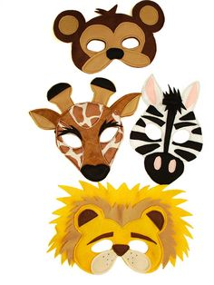 This set of 4 safari animals masks is designed for everyday fun, great for dress up and pretend play, ideal gift, perfect for themed birthday parties, party favor and photo props. The set includes the following masks: GIRAFFE, ZEBRA, MONKEY, LION. Each mask has two-layers, it is