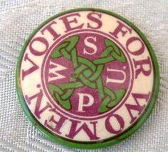 VOTES FOR WOMEN – WSPU (Women's Social & Political Union) tin button badge (c.1910), via Flickr.