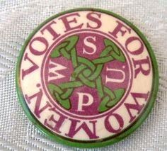 VOTES FOR WOMEN – WSPU (Women's Social & Political Union) tin button badge (c.1910), via Flickr.