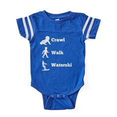 f1ad09ee9 CafePress Crawl Walk Waterski Baby Football Bodysuit (313088311) #fashion # clothing #shoes