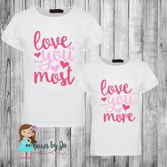 Mother/Daughter Valentine's Day Love you Shirts by BowsByJo #loveyoumore…
