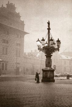 "hayatsanatvesaire: ""Evening autumn Prague by Jiří Všetečka "" Nature Pictures, Old Pictures, Old Photos, Prague Czech Republic, Europe, Fine Art Photo, Historical Photos, Great Photos, Black And White Photography"