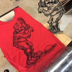"Chris Neuenschwander (@nooshstudios) on Instagram: ""Printing some shirts tonight!!! #woodcut #printmaking #carving #relief #baseball #springtraining…"" Engraving Printing, Spring Training, Printmaking, Printed Shirts, Printing On Fabric, Carving, Graphics, Baseball, Prints"
