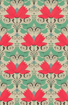 Art Nouveau Wallpaper Pattern Textiles Ideas For 2019 Motif Art Deco, Art Nouveau Pattern, Art Nouveau Design, Design Art, Motifs Textiles, Textile Patterns, Textile Prints, Floral Patterns, Fabric Wallpaper