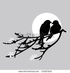 Two Birds Is Sitting On A Branch Stock Vector 145227919 : Shutterstock