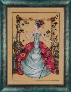 Queen Mariposa is the title from this cross stitch pattern from Wichelt Imports. Click on highlighted links to add the fabric, embellishment...
