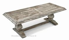 Distressed Wood Trestle Coffee Table in Gray Wash Finish by Woodland Creek.  Available in custom sizes to fit your space.