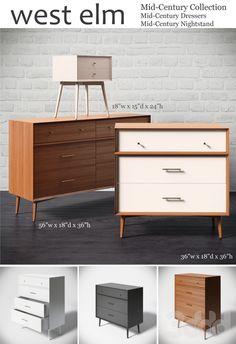 Mid-Century Dressers+Nightstand