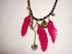 Betsey Johnson Necklace Parrot Bird Crystal Heart Chain Charm #BetseyJohnson