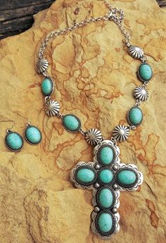 Cowgirl Bling Gypsy Southwestern Concho Silver CROSS TURQUOISE necklace set #Unbranded