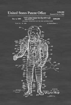 High Altitude Flight Suit Patent - Space Art Aviation Art Blueprint Pilot Gift Aircraft Decor Space Poster Space Program Astronauts by PatentsAsPrints