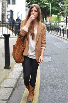 blazer + boots + loose top
