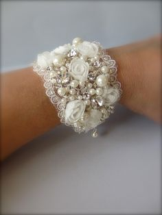 Wedding Cuff Bracelet ~ Victorian Wide Cuff Bracelet, FALL Bridal Bracelet, Wedding Jewelry and Fine Handcrafted Bracelets Lace Jewelry, Textile Jewelry, Fabric Jewelry, Bridal Jewelry, Jewelry Crafts, Handmade Jewelry, Jewelry Ideas, Bridal Earrings, Gold Jewellery