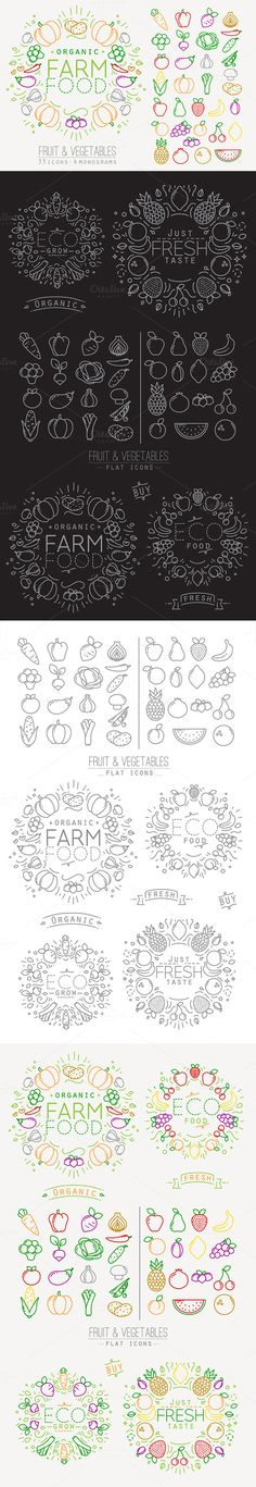 Flat Fruits & Vegetables Icons by Anna on @graphicsmag