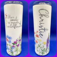 Personalized Tumblers, Pillar Candles, Wild Flowers, Wildflowers, Candles