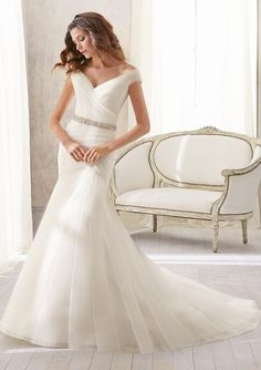 5210 Asymmetrically Draped Soft Net -Shown with Crystal Beaded Organza Tie Sash