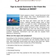 Tips to Avoid Swimmer's Ear From the Doctors at SWENT Swim season is here! Avoid Swimmer's Ear with these Tips from Southwestern Ear, Nose & Throat Asso. http://slidehot.com/resources/tips-to-avoid-swimmers-ear-from-the-doctors-at-swent.38471/