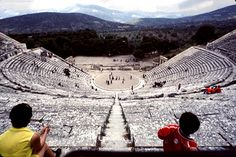 Theatre was also important to the Greek culture. The theatre shown above is Epidaurus there are 55 semi-circular rows, providing an estimated seating capacity of 12,000-14,000 people.The Greeks often built these in a natural hollow, though the sides were increasingly reinforced with stone. Scholars often use the Latin word for hollow, cavea, to designate the seating in an ancient theater. Stairs mounting to the highest levels dividing the sections of seats into wedges.