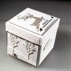Winter Wonderland Box, explosion box winter forest and Christmas deer . - Winter Wonderland Box, winter forest explosion box and Christmas deer …- # explosion b - Christmas Gift Box, Stampin Up Christmas, Christmas Deer, Christmas Projects, Winter Outfits For Teen Girls, Scrapbook Box, Scrapbooking, Shadow Box, Exploding Box Card